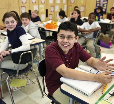Christopher Cruz, 11, had the answer to a question during a math lesson recently.